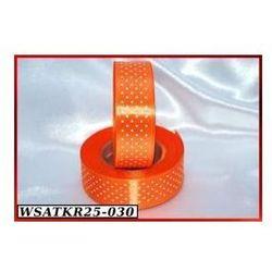 Wstążka satynowa w kropki 25mm/22mb pomarańczowa (5902188621785)