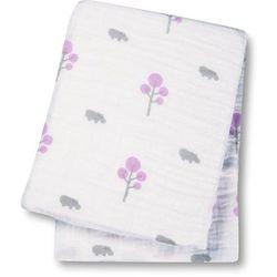 Kocyk - otulacz muślinowy  (120x120) hipopotam i różowe drzewka marki Lulujo
