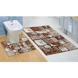 Bellatex Komplet dywaników łazienkowych Kostka kamienna 3D, 60 x 100 cm, 60 x 50 cm (8592325092041)