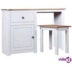 vidaXL Toaletka ze stołkiem, biała, lite drewno sosnowe, seria Panama (8719883682655)