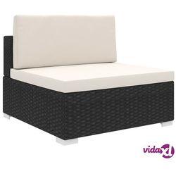 vidaXL Środkowa sofa z poduszką, polirattan, czarna