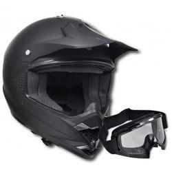 Kask do motocross (S) , bez szybki + gogle (gogle motocyklowe)