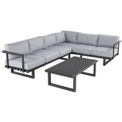 Zestaw mebli ogrodowych w kolorze charcoal black/light grey | Calabria Lounge