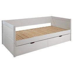 Kanapa z wysuwanym łóżkiem alfiero z szufladami - 90 × 190 cm - lakierowane na biało marki Vente-unique