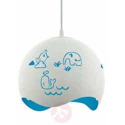 Lampa wisząca Eglo Laurina 97393 sufitowa dziecięca 1x60W E27 biało/niebieska, 97393