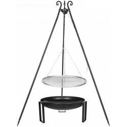 Grill FARMCOOK na trójnogu z rusztem ze stali nierdzewnej 60cm Czarny + Palenisko ogrodowe PAN 32 70cm