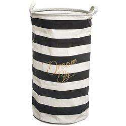 """Atmosphera créateur d'intérieur Praktyczny kosz na pranie z uchwytami do przenoszenia, okrągły, kolor czarno-biały, dekoracyjny napis """"dream big"""", wymiary 62x33cm"""