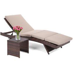 Home&garden Leżanka ogrodowa bora bora brown / taupe ze stolikiem (5902425326343)