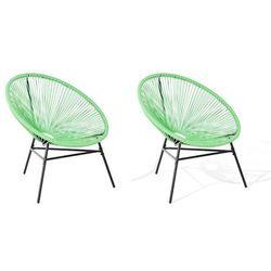 Zestaw 2 krzeseł rattanowych zielony ACAPULCO