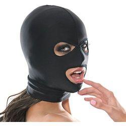 Czarna maska na głowę do bdsm elastyczna 3 otwory wyprodukowany przez Pipedream