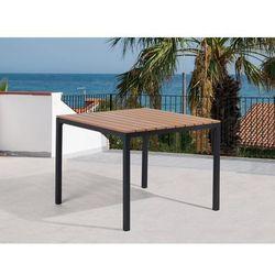 Beliani Stół ogrodowy brązowy - meble ogrodowe – aluminium - 95x95 cm - prato, kategoria: stoły ogrodowe
