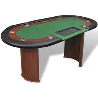 vidaXL Stół do pokera dla 10 graczy z tacą na żetony, zielony (8718475957362)