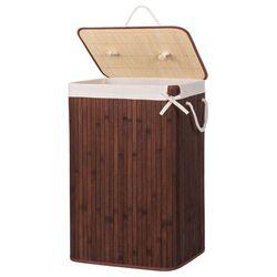 Bambusowy kosz na pranie 72 L z pokrywą ciemny brązowy (5907719404011)