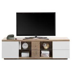 Szafka RTV ELSA lakier biały mat + folia dąb 180/53/40 cm