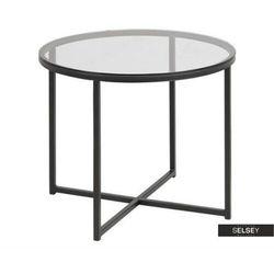 Selsey stolik kawowy crispum o średnicy 55 cm z czarną podstawą (5903025296319)