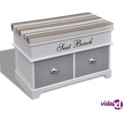 Vidaxl ławeczka do przedpokoju, z szufladami oraz szarą poduszką (8718475862468)