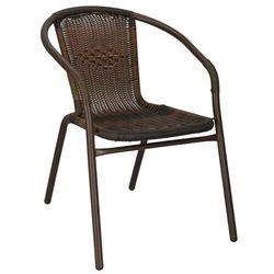 Krzesło ogrodowe, plecione na taras metalowe brązowe (5907719417431)