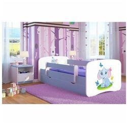 Łóżko dla chłopca z materacem Happy 2X mix 80x160 - niebieskie, Kocot-łóżko-babydreams-niebieskie-słonik