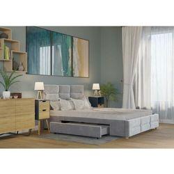 Big meble Łóżko 160x200 tapicerowane bergamo + 2 szuflady welur szare