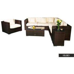 SELSEY Zestaw mebli ogrodowych Revil modułowy z fotelem i dwoma stolikami ciemny brąz