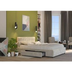 Big meble Łóżko 180x200 tapicerowane arezzo + 2 szuflady welur beżowe