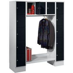 Szafa na garderobę, otwarta, wys. x szer. całk.: 1850x1500 mm, 13 półek, czarny,