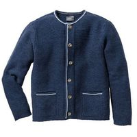 Sweter rozpinany w ludowym stylu Regular Fit bonprix ciemnoniebieski melanż, w 5 rozmiarach