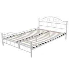 Łóżko metalowe białe Sanser 180x200, LF-LOZKO-005