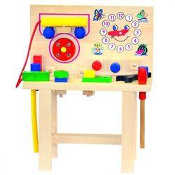 BINO Stolik drewniany z telefonem i narzędziami (4019359821453)