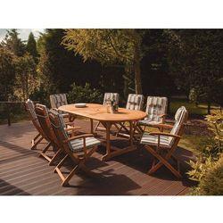 Krzesło ogrodowe drewniane poducha niebiesko-beżowe pasy maui marki Beliani