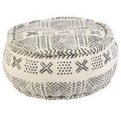 Orientalny okragly puf Ø60cm czarny z ecru - new delhi marki Qazqa