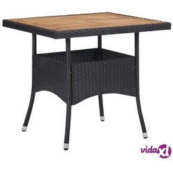 vidaXL Stół ogrodowy, czarny, polirattan i lite drewno akacjowe, kolor czarny
