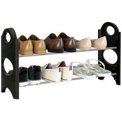 Regał na buty z metalowymi 2 półkami szafka czarno-szara