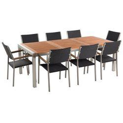 Beliani Zestaw ogrodowy mahoniowy blat 220 cm 8-osobowy rattanowe krzesła grosseto