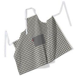 fartuch szefa kuchni męski, szaro biała kratka (1,5x1,5cm), 123x100 cm, quadro, marki Dekoria