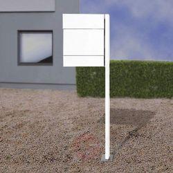 Skrzynka na listy LETTERMAN V, półka+słupek, biała (4250208615155)