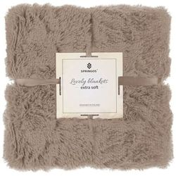 Springos Narzuta na łóżko, pled 160x200 cm dwustronny koc na kanapę brązowy (5907719410081)