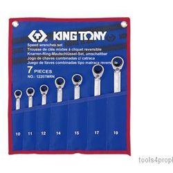 ZESTAW KLUCZY PŁASKO-OCZKOWYCH Z GRZECHOTKĄ DWUKIERUNKOWĄ 7cz. 10 - 19mm King Tony 12207MRN (4710591920071)