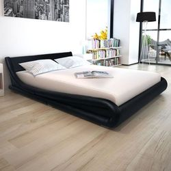 Vidaxl łóżko ze sztucznej skóry z materacem 160 x 200 cm, czarne (8718475547471)