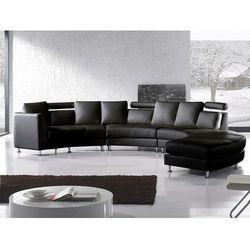 Półokrągła sofa skórzana czarna - 8 miejsc siedzących ROTUNDE, kolor czarny