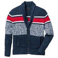 Sweter rozpinany z szalowym kołnierzem regular fit  ciemnoniebiesko-czerwono-biały, Bonprix, S-XXXXL