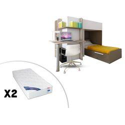 Łóżko piętrowe samuel – 2 × 90 × 190 cm – wbudowane biurko – kolor sosna biała i czekoladowy – 2 materace zeus 90 × 190 cm marki Vente-unique