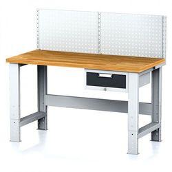 Stół warsztatowy MECHANIC z nadstawką, 1500x700x700-1055 mm, nogi regulowane, 1x 1 szufladowy kontener, szary/antracyt
