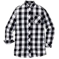 Bonprix Długa koszula z długim rękawem regular fit  czarno-biały w kratę