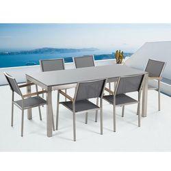 Meble ogrodowe - stół granitowy - cała płyta - 180 cm szary polerowany z 6 szarymi krzesłami - GROSSETO