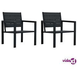vidaXL Krzesła ogrodowe, 2 szt., czarne, HDPE o wyglądzie drewna (8719883751580)