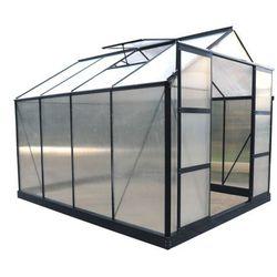Szklarnia ogrodowa z poliwęglanu 7.5 m² greenea ii z podstawą - antracyt marki Vente-unique