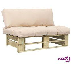 vidaXL Sofa ogrodowa z palet z piaskowymi poduszkami, drewno FSC (8718475715566)