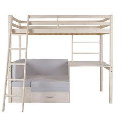 Łóżko antresola goliath z biurkiem, sofą i szafkami - 90 × 200 cm - lite drewno sosnowe - bielone marki Vente-unique