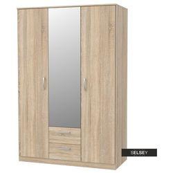 szafa trzydrzwiowa mercurum z dwiema szufladami i lustrem na froncie marki Selsey